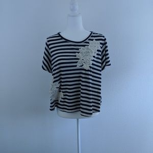 XHILARATION Blue & White striped top - embellished